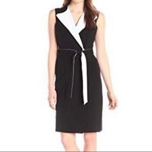 Calvin Klein Black White Colorblock Collared Dress
